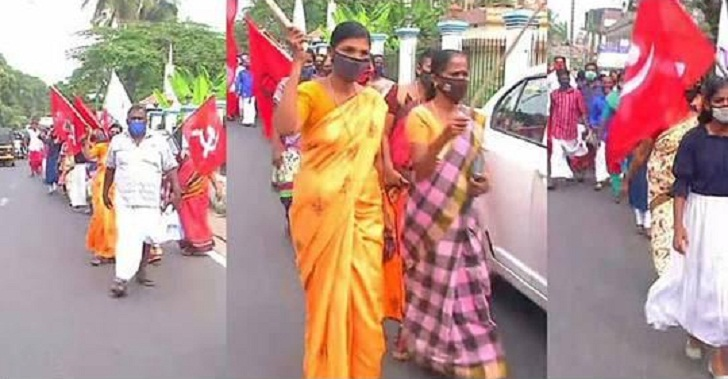 In Alappuzha, a group of CPM workers protested against the leadership of corporations, municipalities