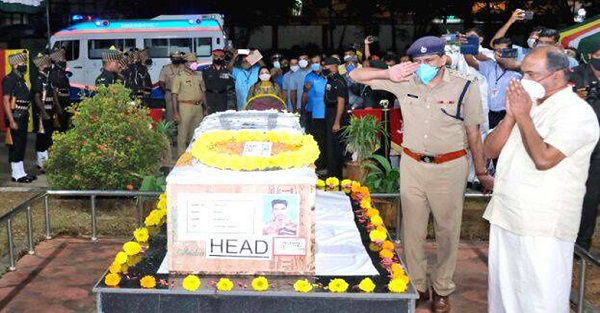 Body of martyred soldier Vaishakh reaches Thiruvananthapuram as dignitaries pay last respects